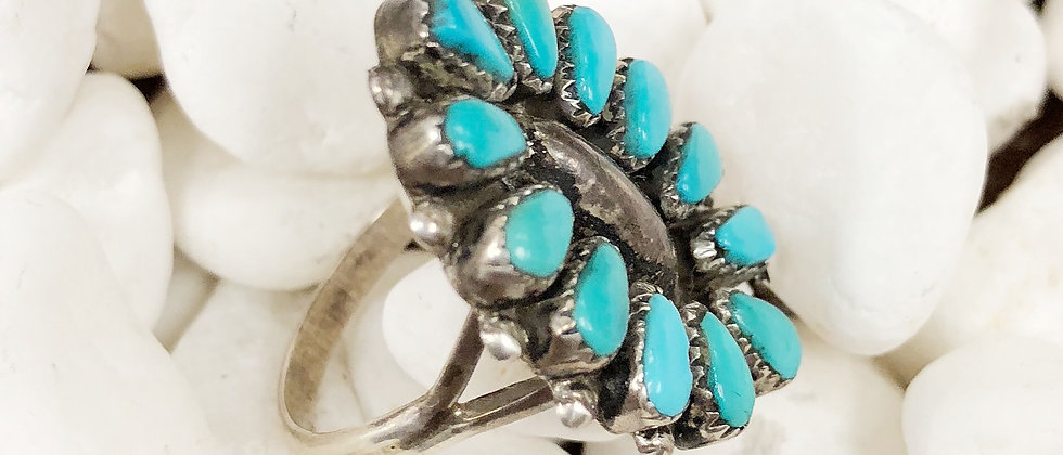 Zuni Coral Cluster Ring