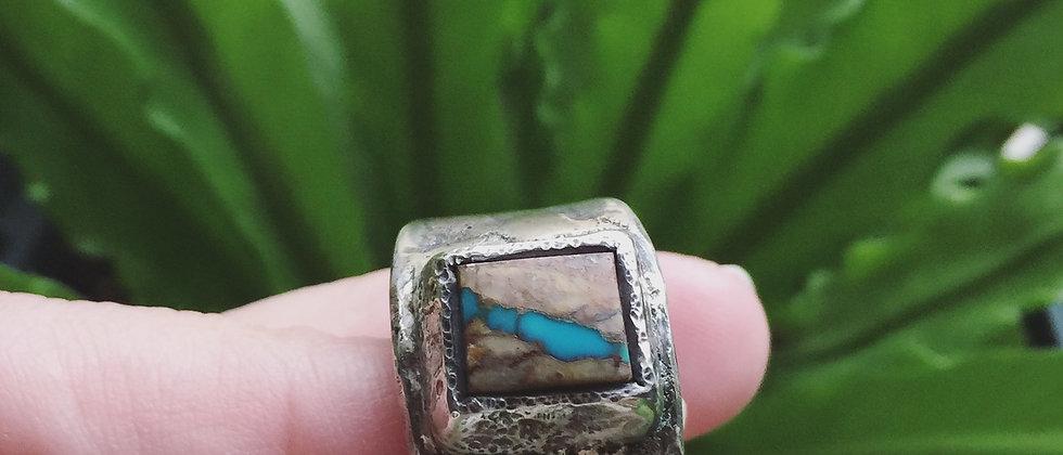 Ribbon Turquoise Tufacast Ring