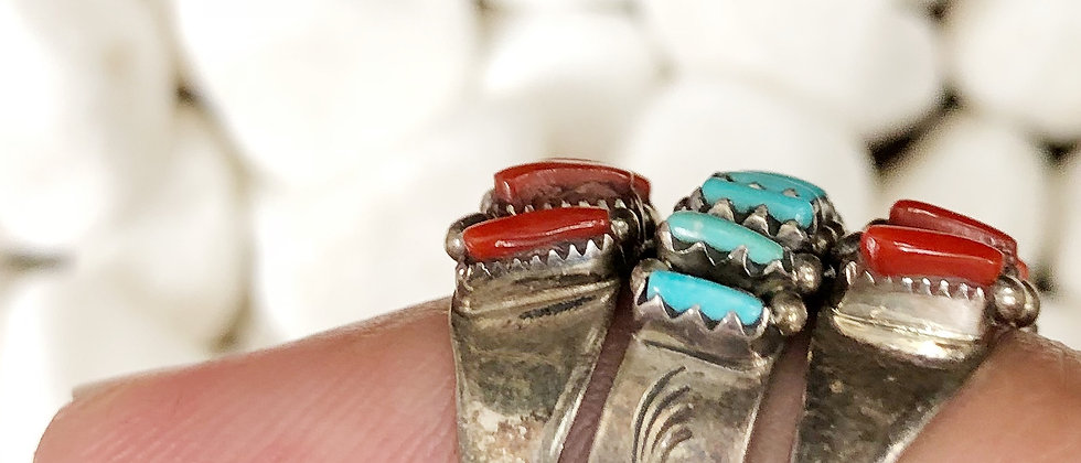 Rustic Petite Point Turquoise Ring