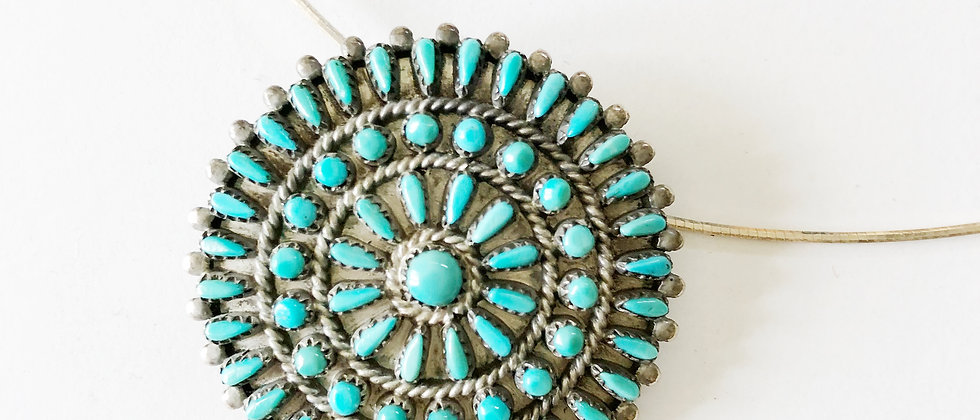 Petit Point Turquoise Flower