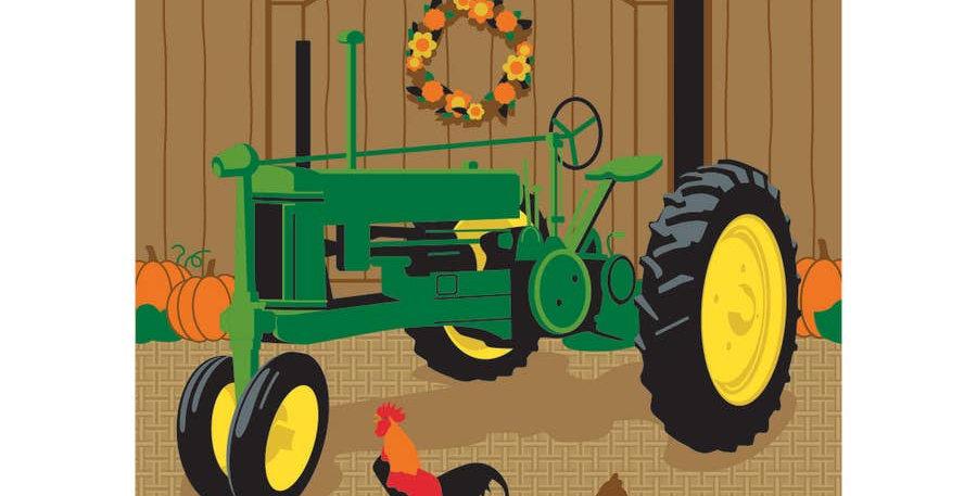 Fall Tractor Garden Flag