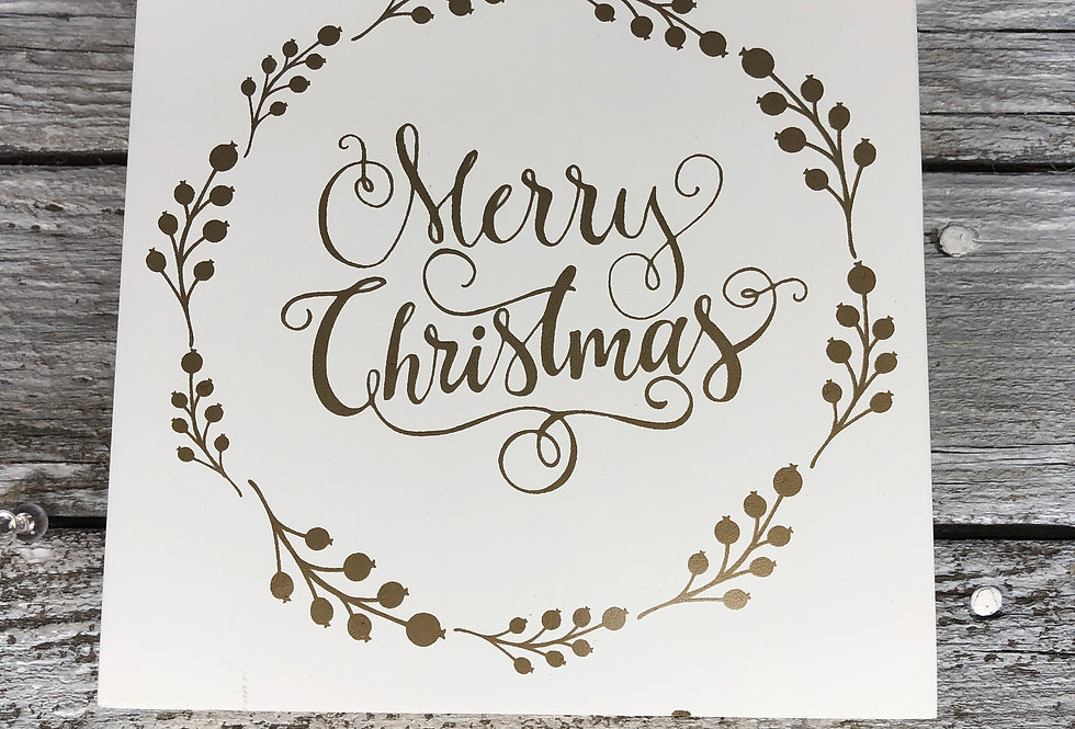 Merry Christmas Sign - White & Gold