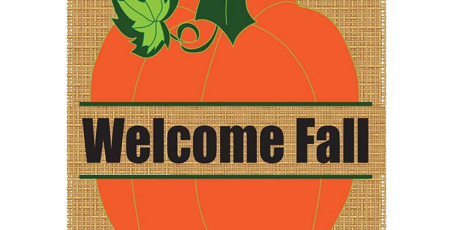 Welcome Fall Pumpkin Burlap Garden Flag