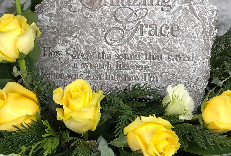 Amazing Grace Stone with Flowers
