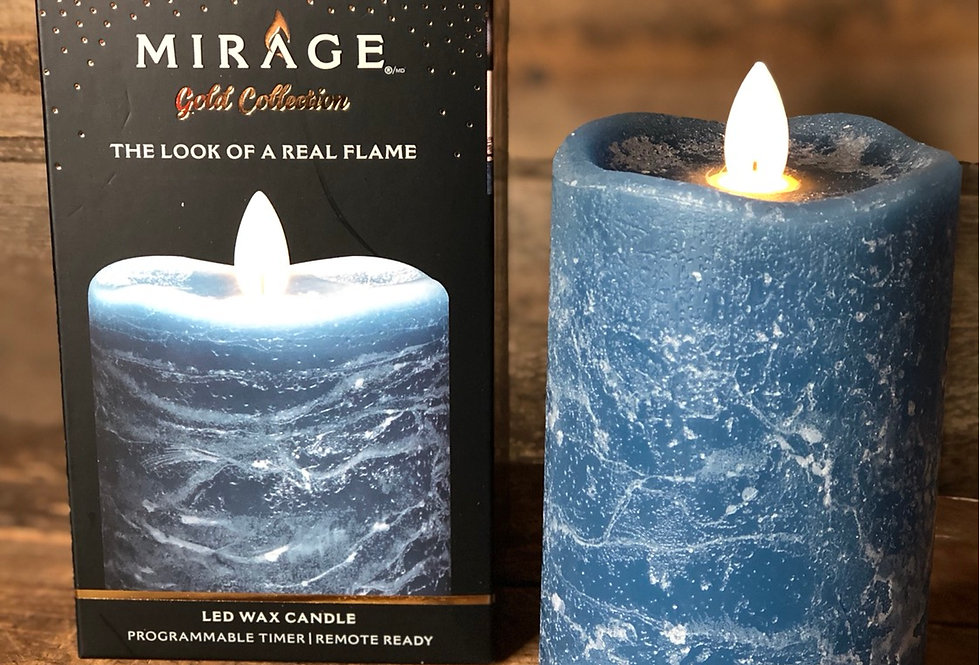 Blue Marble Flameless Candle - short