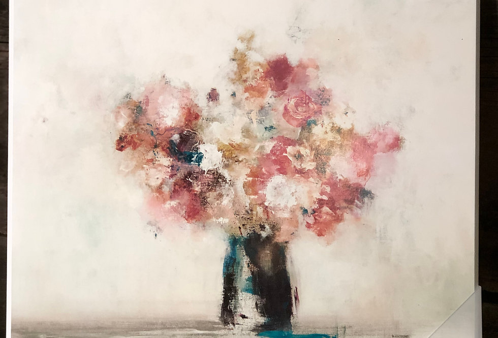 Muted Subtle Pink Flowers in Vase Painting