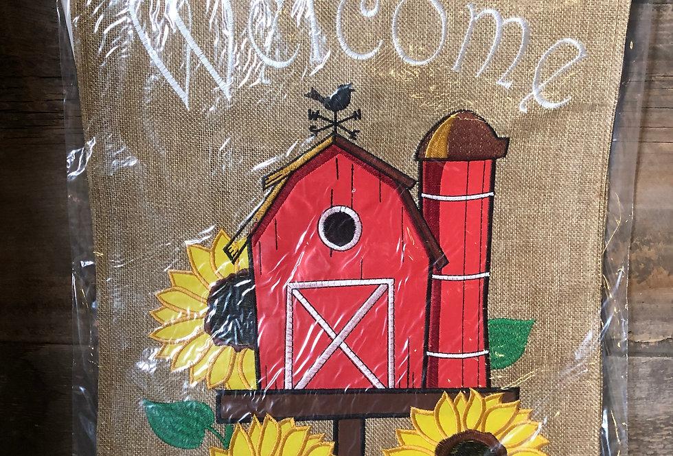 Garden Barn Birdhouse - Welcome Flag