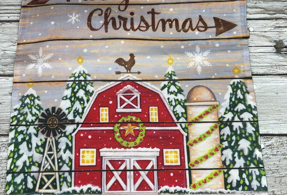 Merry Christmas Barn Garden Flag