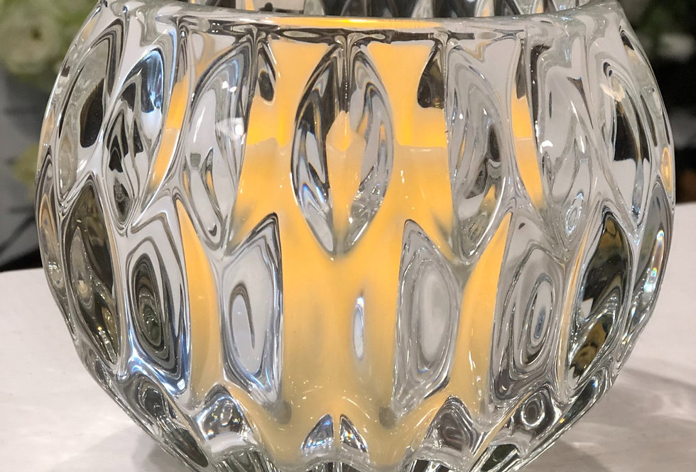 Thick Cut Glass Votive Candleholder