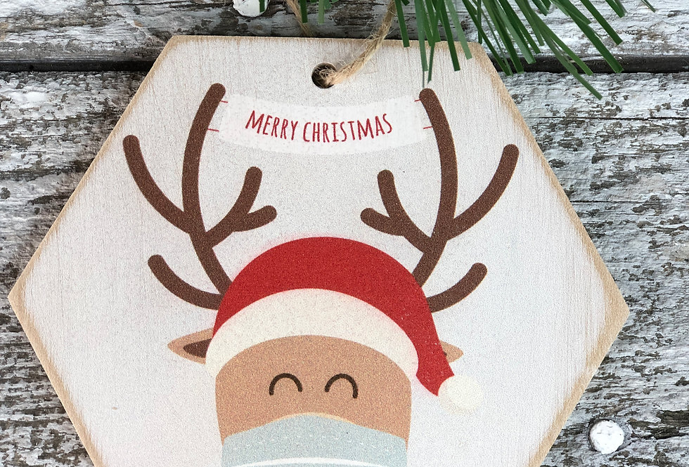 Reindeer in Mask Wooden Ornament