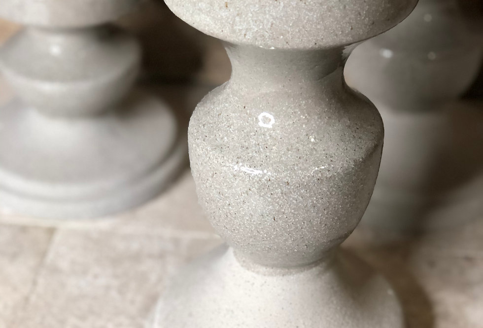 Gray Two Tone Texture Candle Holder - Tall
