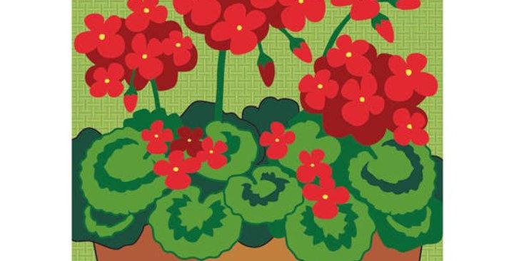 Garden Geraniums Burlap Flag