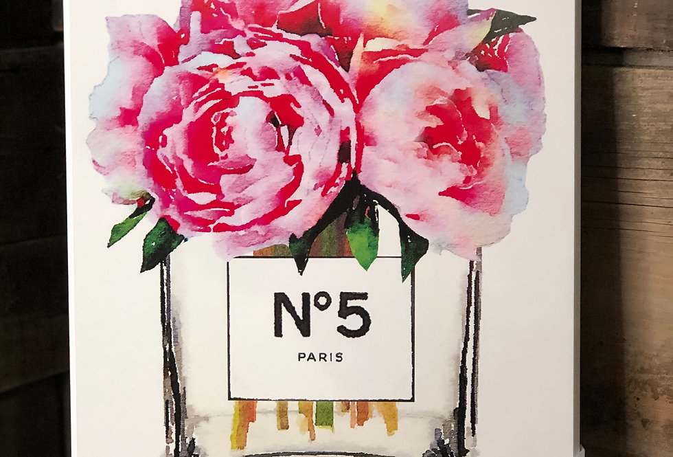 Glam Paris Vase with Pink Peony Painting
