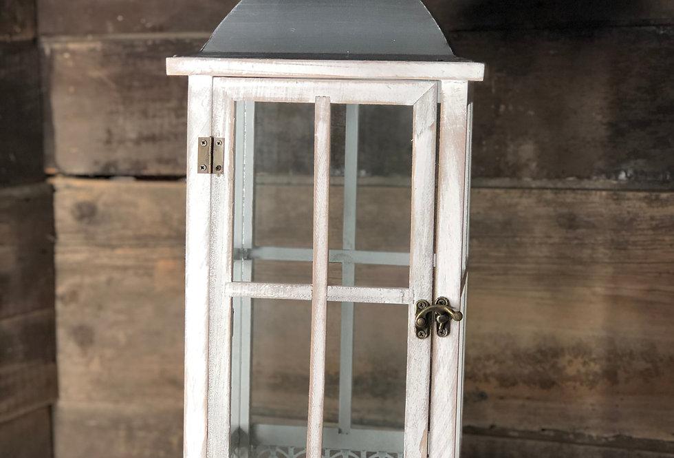 Whitewash Iron Top Lantern
