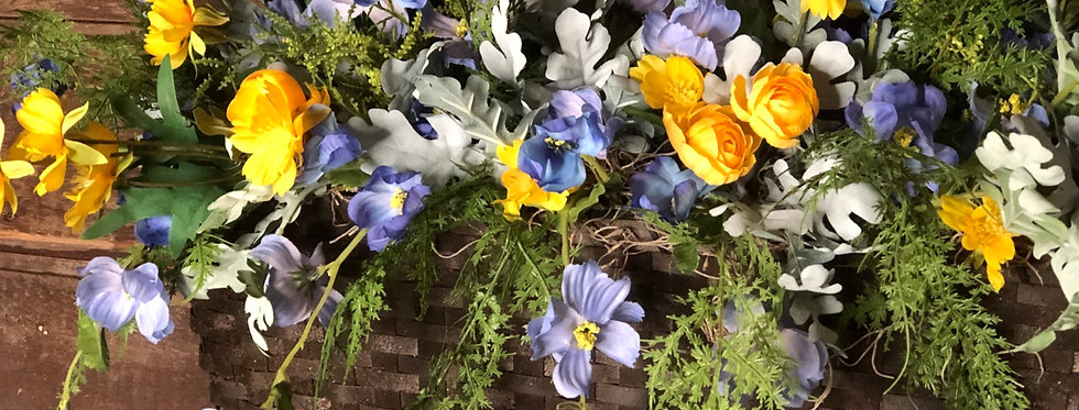 Blue and Yellow Wall Mail Basket Arrangement