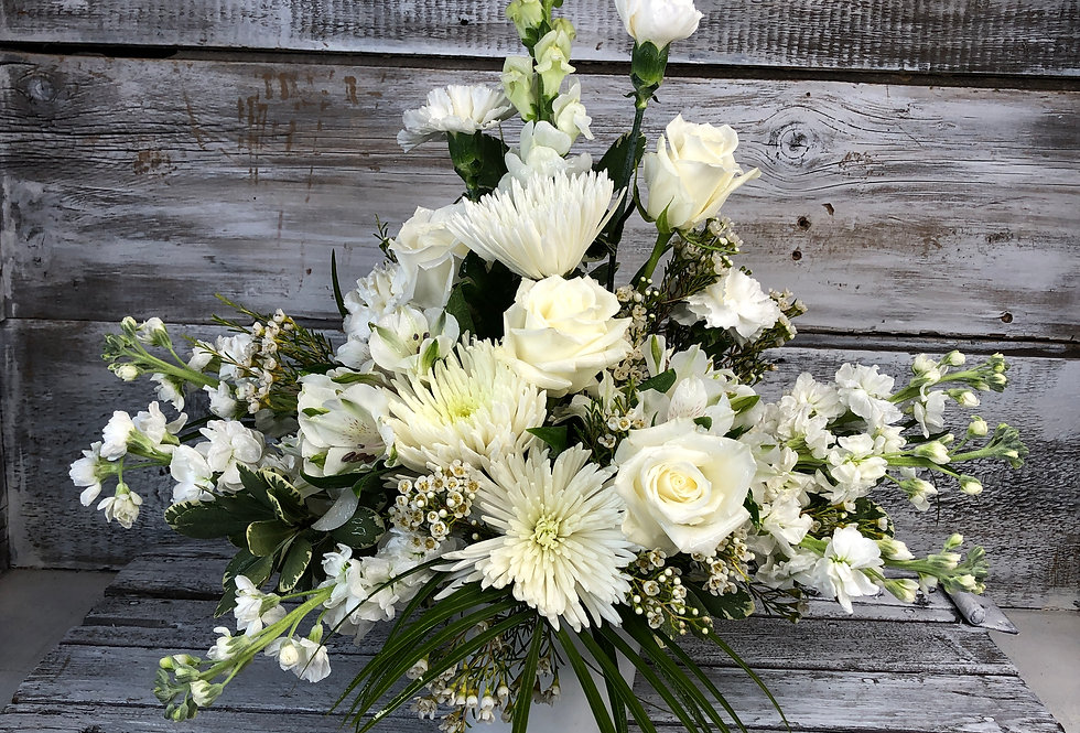 All White Memorial Arrangement