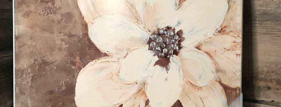 Abstract Gold & Silver Flower Collage Painting