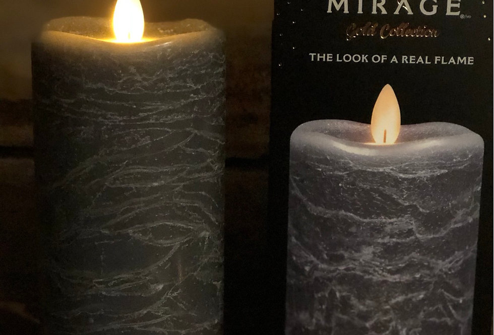 Grey Marble Flameless Candle - tall
