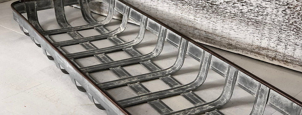 Square Woven Metal Tray with Side Handles - Large