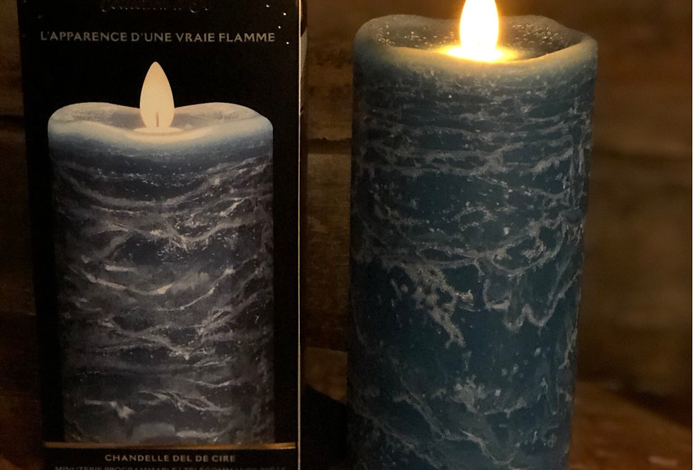 Blue Marble Flameless Candle - tall
