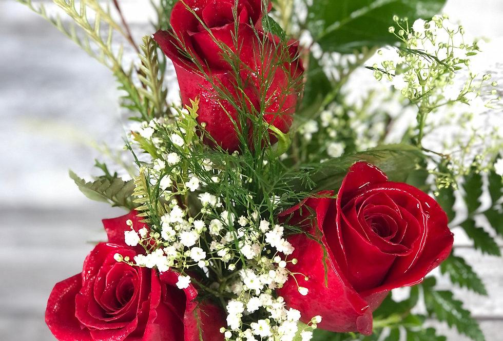Three Roses in Vase
