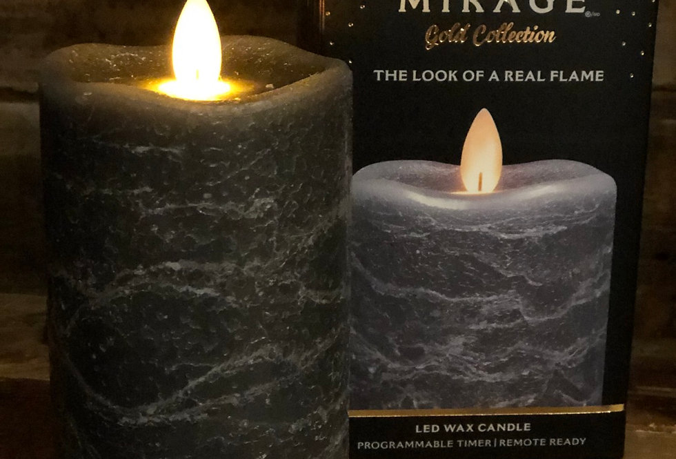 Grey Marble Flameless Candle - short
