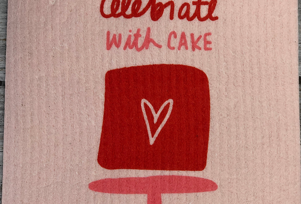 Always Celebrate With Cake Swedish Dishcloth