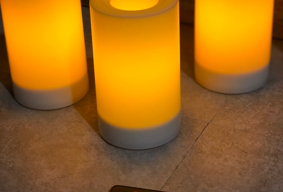 Outdoor Pillar Candles - Set of 3 with Remote