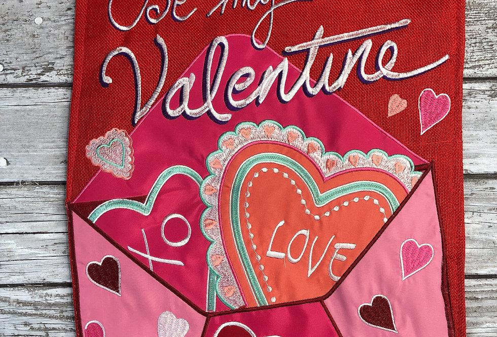Be My Valentine Burlap Garden Flag
