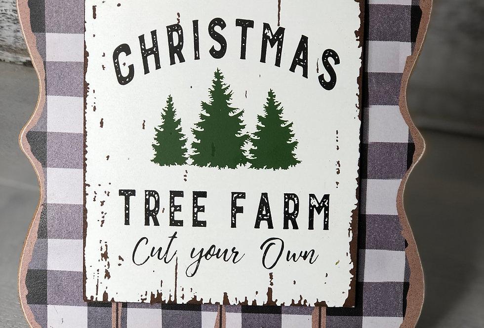 Christmas Tree Farm Buffalo Check Easel