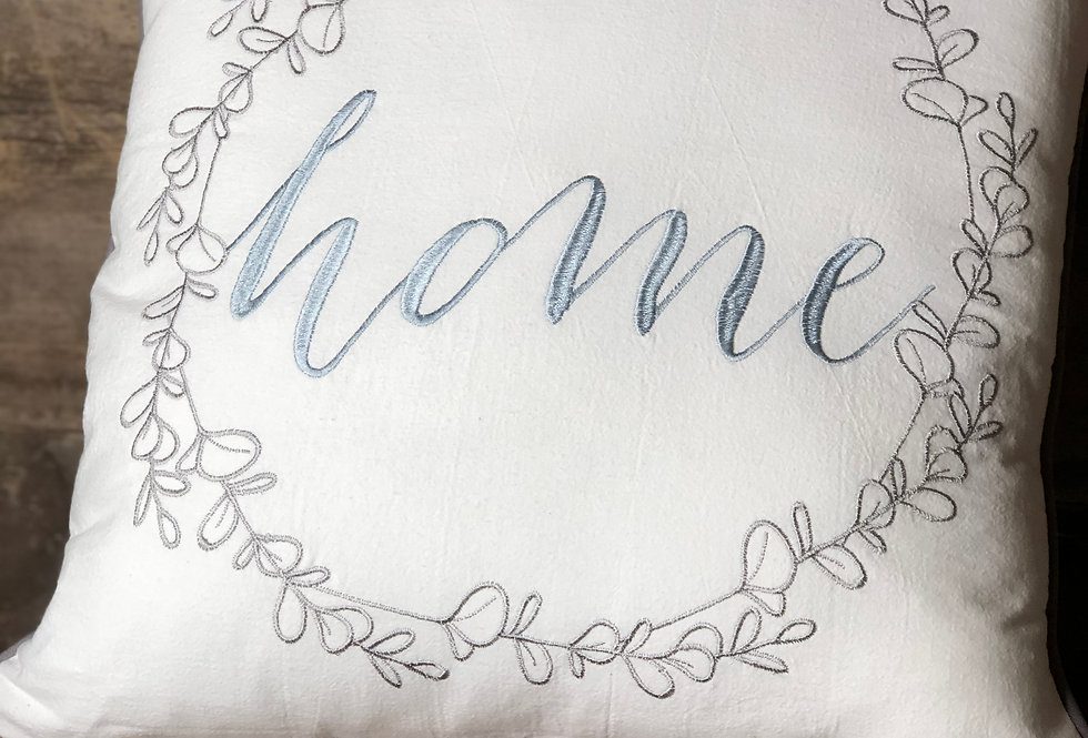 Home Wreath Embroidered Accent Pillow