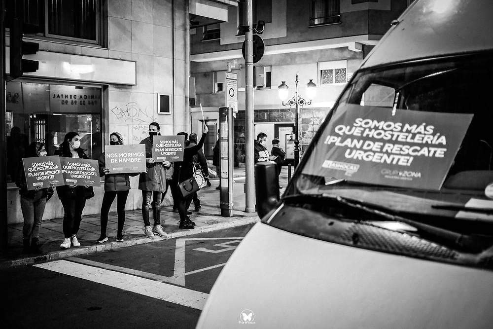 manifestacion hosteleria castellon, restaurantes bares protesta