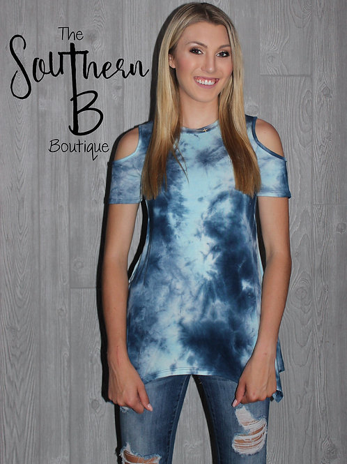 Navy Tie Die Cold Shoulder
