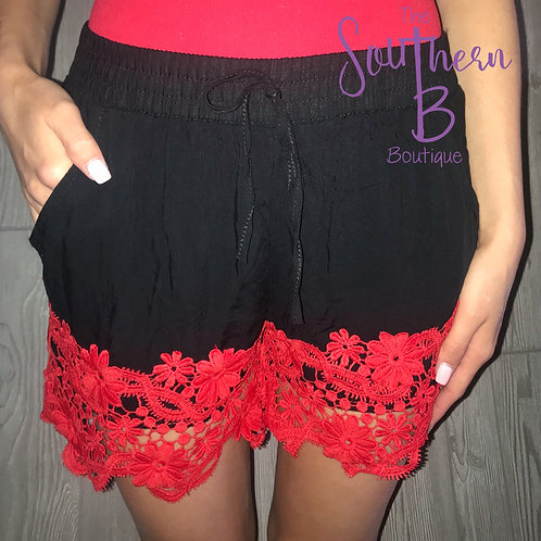 Black/Red Lace trimmed shorts