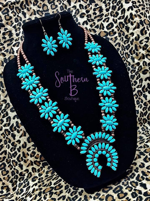 Bronze Daisy Squash Blossom Necklace