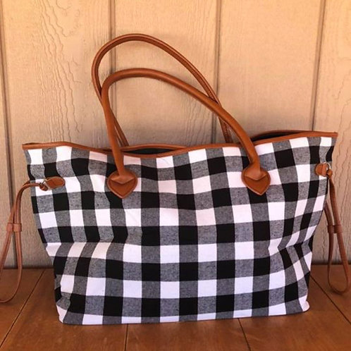 Plaid oversized tote