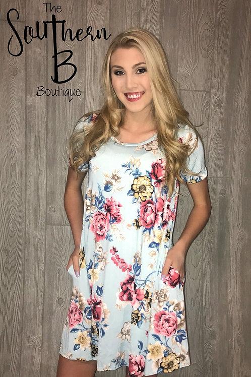 Baby blue spring floral pocket tshirt dress