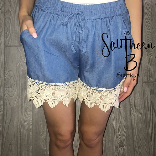 Denim Lace trimmed shorts