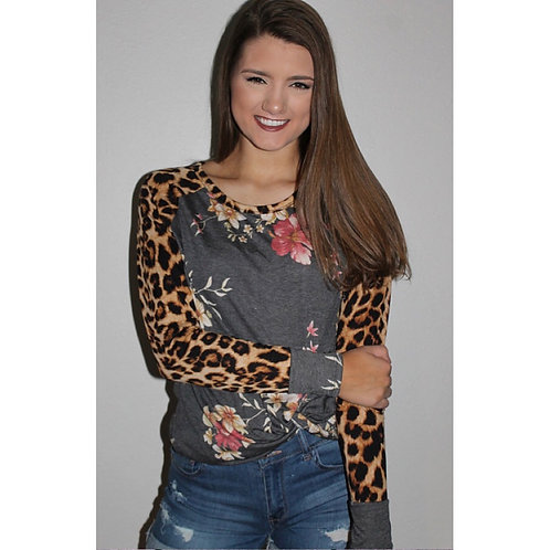 Cheetah floral top