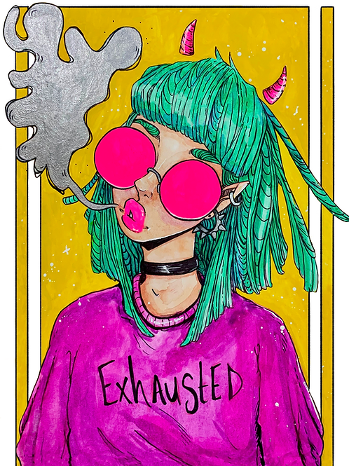 Exhausted- Watercolor Print