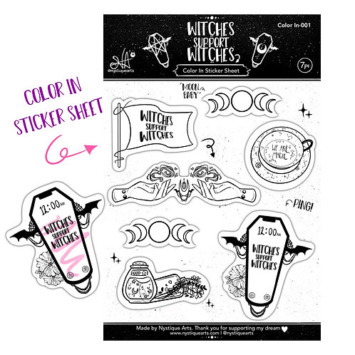 Witches Support Witches - B&W Sticker Sheet