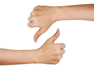 woman hands showing thumbs up and down (