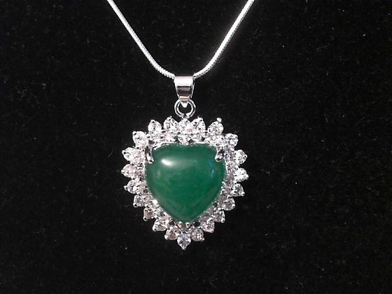 Silver and Crystals Jade Stone Heart