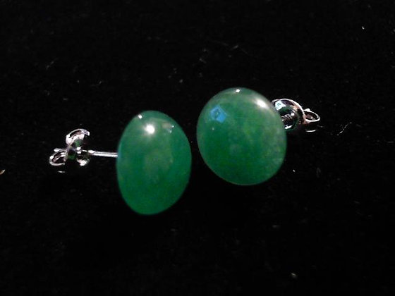Jade Button Post Earrings