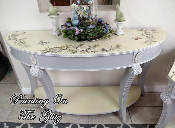 (SOLD)  Matching Pale Yellow and Grey Accent Tables