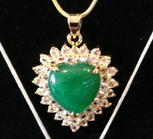 Gold and Crystals Heart Jade Stone necklace
