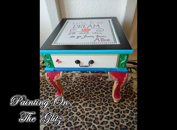 "(SOLD)    ""Alice In Wonderland"" Themed Table"