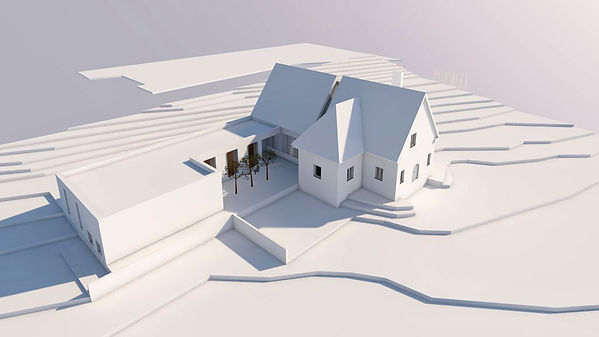 3D-Modell Entwurf Aussegnungshalle