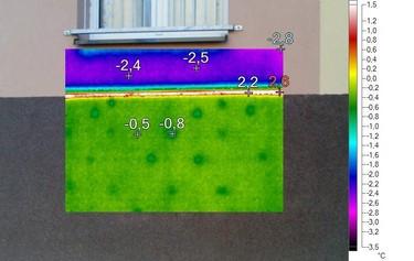 Termovizní snímek hliníkového zakládacího profilu. Jeho vnější povrchová teplota je výrazně vyšší než teploty v místě zateplení, tvoří se tepelný most.