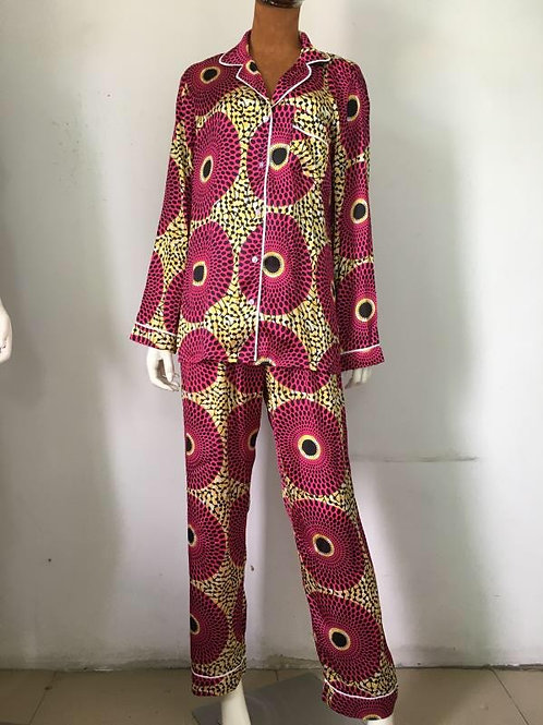 Nsubra African Print Satin Pajama Set